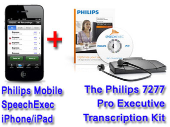 Philips LFH7430-LITE Mobile Recorder and File Service for iPhone & iPad + Philips 7277 Pro Executive Transcription Kit Bundle