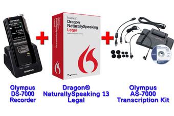 Power Legal Manual Transcription Bundle Option DS-7000 + Dragon 13 Legal + Olympus AS-7000 Transcription
