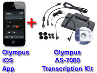 Olympus Mobile Phone Dictation App for iOS + Olympus AS-7000 Transcription System Bundle