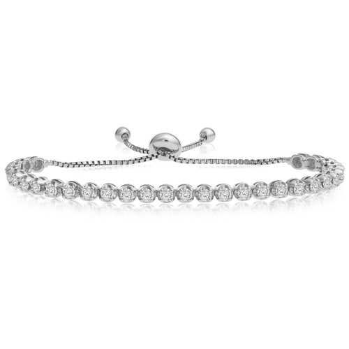 """""""One-Size-Fits-All"""" Adjustable Diamond Bracelet in 14k White Gold (1.50ctw - 4.00ctw)"""