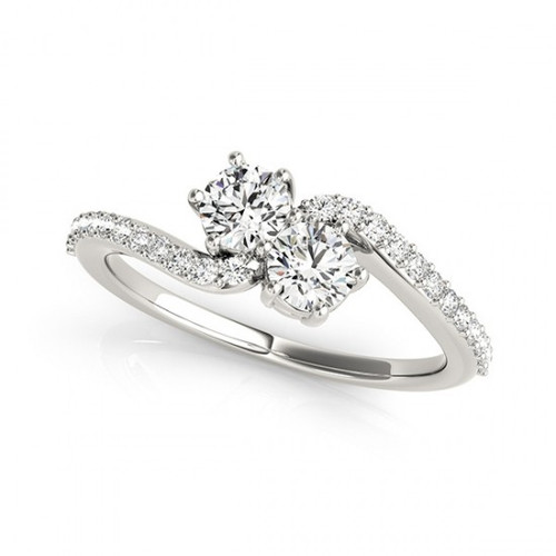 2-Stone Swirl Engagement Ring in 14k White Gold        (1/2ctw - 1 1/4ctw)