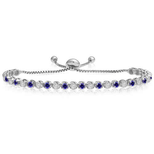 """""""One-Size-Fits-All"""" Adjustable Sapphire and Diamond Tennis Bracelet in 14k White Gold (2.00ctw - 5.00ctw)"""