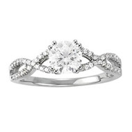 1/2 ct Round Diamond Fashion Engagement Ring in 14KT White Gold(.73ctw)
