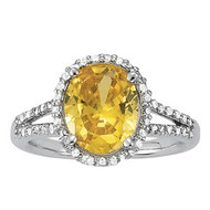 Citrine and Diamond Ring set in 14k White Gold (.44ct)