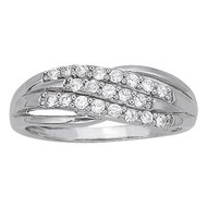 Diamond 3 Row Fashion Ring set in 14k White Gold (.26ct)