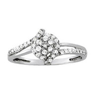 Diamond Cluster Ring set in 14k White Gold (.22ct)