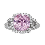 14k White Gold Cushion Cut Pink Topaz and Diamond Ring(4.02ctw)