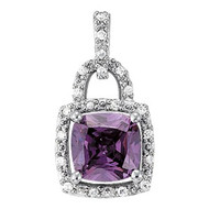 2.00ct Amethyst Diamond Pendant set in 14k White Gold (.10ct)