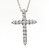Diamond Cross Pendant set in 14k White Gold (.28ct)