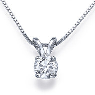 "3/4ct  4-Prong Diamond Solitaire Pendant with 16"" chain in 14k White Gold"