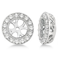 14k White Gold Vintage 5MM Round Cut Diamond Earring Jackets (0.27ct)