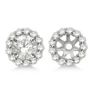 14k White Gold Round Diamond Earring Jackets for 5MM studs (0.50ct)