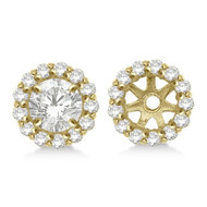 14k Yellow Gold Round Diamond Earring Jackets for 5MM studs (0.50ct)