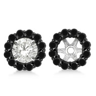 14k White Gold Round Cut Fancy Black Diamond Earring Jackets (0.75ct)