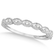 14k White Gold Antique Marquise Shape Diamond Wedding Ring  (0.10ct)