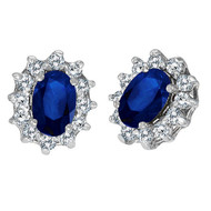 14k White Gold Oval Blue Sapphire & Diamond Accents Earrings (2.05ct)