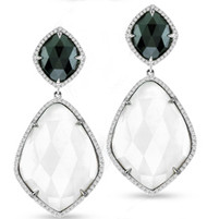 Ilano Jewelry - Black and White Agate Earrings with Diamonds in 14k White Gold (33.11ct t.w)