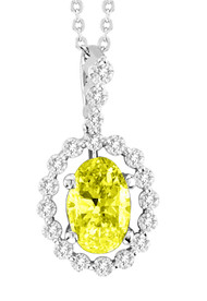 """14k White Gold Oval Yellow Diamond Pendant (1.50ct t.w) with 16"""" Chain"""