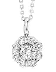 "14k White Gold Diamond Solitaire Pendant (.63ct t.w) with 16"" Chain"
