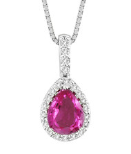 """14k White Gold Pink Sapphire and Diamond Pendant (1.42ct t.w) with 16"""" Chain"""