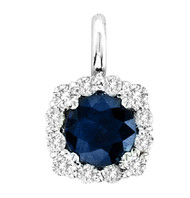 14k White Gold Sapphire and Diamond Pendant (.84ct t.w)