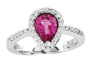 14k White Gold Pear Shape Pink Sapphire Ring (1.48ct t.w)