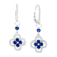14k White Gold Round Sapphire and Diamond Flower Earrings (1.52ct t.w)