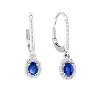 14k White Gold Oval Sapphire Earrings (1.41ct t.w)