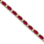 14k White Gold Diamond & Oval Cut Ruby Tennis Bracelet  (8.05ctw)