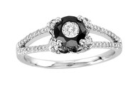 """Tuxedo Collection""  18k White Gold Black and White Diamond Double Row Ring (1.08ct t.w)"