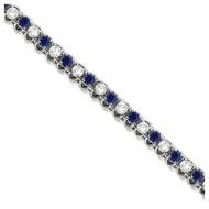 Round Blue Sapphire & Diamond Tennis Bracelet In 14k White Gold (4.75ct T.W)