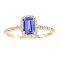 14k Rose Gold Emerald cut Tanzanite and Diamond Ring (1.15ct t.w)