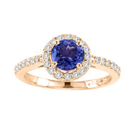 14k Rose Gold Tanzanite and Diamond Halo Ring (1.43ct t.w)