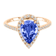 14k Rose Gold Pear Shape Tanzanite and Diamond Ring(2.10ct t.w)