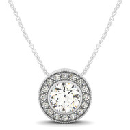 14k White Gold 1/3CT Diamond Circle Pendant(.44ct t.w)