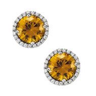 14K White Gold Round Citrine and Diamond Earrings(1.00ct t.w)