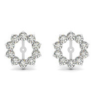 14k White Gold Round Diamond Earring Jackets (2.00ct t.w)