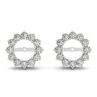 14k White Gold Round  Diamond Jackets (.84ct t.w)