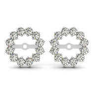 14k White Gold Round Diamond Earring Jacket (.60ct t.w)