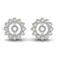14k White Gold round Diamond Earring Jacket (.36ct t.w)