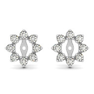 14k White Gold Round Diamond Earring Jacket(.50ct t.w)
