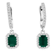 Emerald and Diamond Halo Earrings in 14K White Gold(1.55ctw)