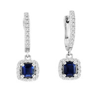 Cushion-Cut Sapphire and Diamond Halo Earrings in 14k White Gold (1.44ctw)