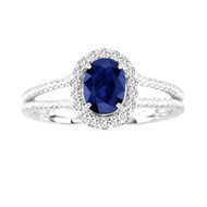 Oval Sapphire and Diamond Split Shank ring in 14k White Gold(1.34ctw)