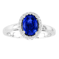 Oval Sapphire and Diamond Ring in 14k White Gold(1.68ctw)