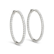 (.63CT T.W) Round Diamond Hoop Earrings in 14K White Gold