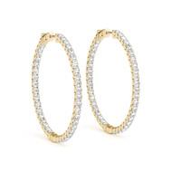 (.63CT T.W) Round Diamond Hoop Earrings in 14K Yellow Gold