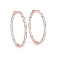 (.63CT T.W) Round Diamond Hoop Earrings in 14K Rose Gold