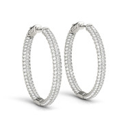 1.00ct T.W Round Diamond Hoop Earrings in 14K White Gold