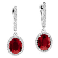 Oval Ruby and Diamond Halo Earrings In 14k White Gold (4.80ctw)